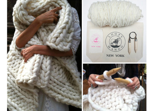 Loopy Mango Knitting Throw Kit