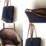 Custom Bag: Medium Zipper Tote | Waxed Canvas and Leather Bag | Midnight Blue with Charcoal Grey
