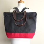 Custom Bag: Convertible Large Zipper Tote Backpack for Travel | Lightly Waxed Canvas | Charcoal Grey and Red