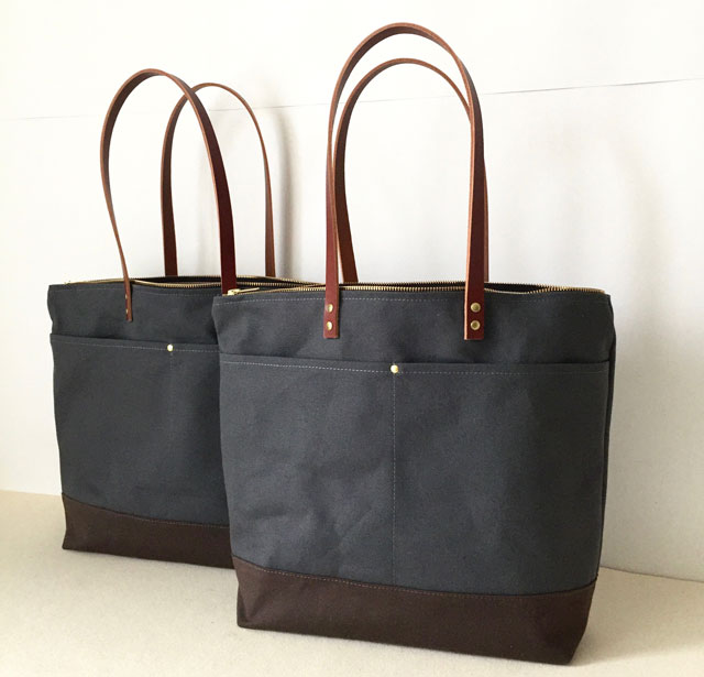 modern-coup-custom-medium-zipper-tote-water-resistant-waxed-canvas-and-leather-charcoal-grey-brown-front