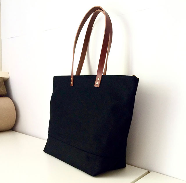 Custom Bag: Large Zipper Tote | Waxed Canvas and Leather | Water ...