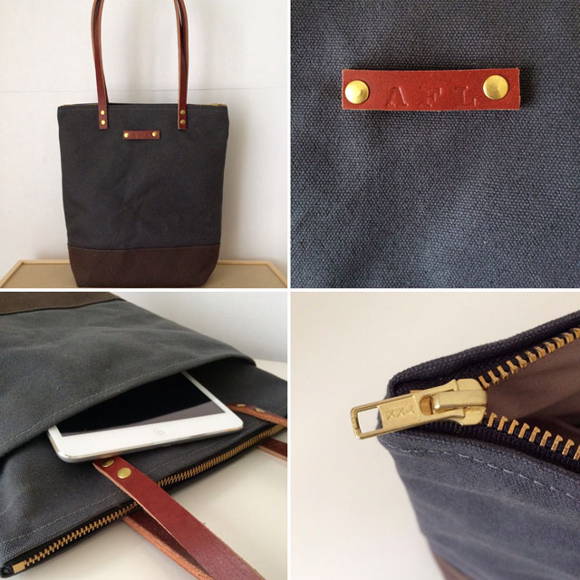 custom bag small zipper tote waxed canvas and leather bag