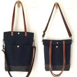 Custom Bag: Fold-Over Tote with Crossbody Strap|Water Resistant Lightly Waxed Canvas and Leather|Midnight Blue and Charcoal Grey