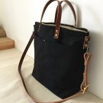Custom Bag: Water Resistant Commuter Bag   Black with Brown Leather