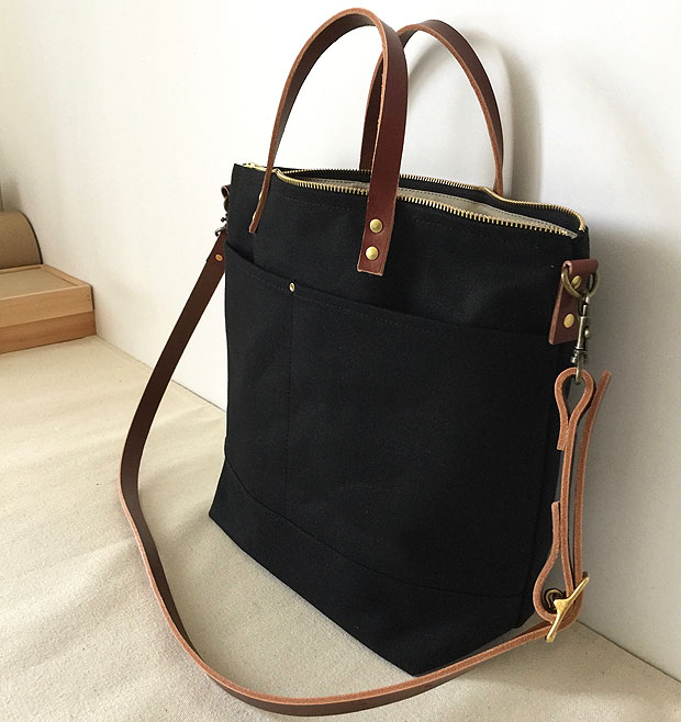6c9f3cc352 modern-coup-waxed-canvas-leather-bags-commuter-bag-custom-tote-black-brown- leather-side