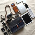 Custom Bag: Men's Courier Bag | Waxed Canvas and Leather | Messenger Bag | Midnight Blue and Charcoal Grey