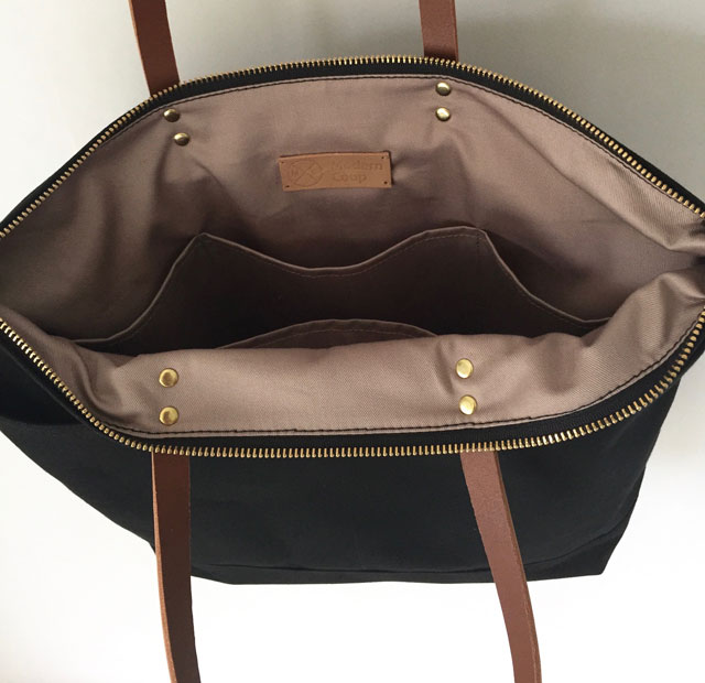 Custom Bag Carrier Tote For Everyday Waxed Canvas And Leather Black With Brown Leather