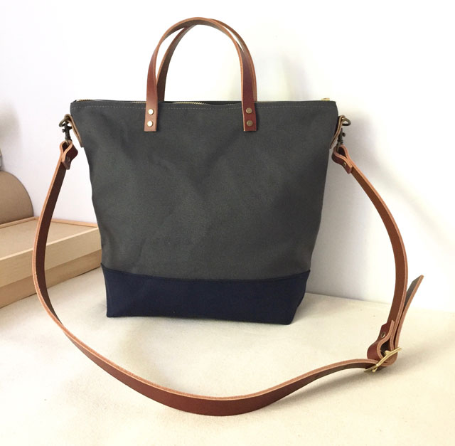 Custom Bag: Commuter Bag in Charcoal Grey and Blue | Water Resistant Waxed Canvas and Leather Tote | Handmade