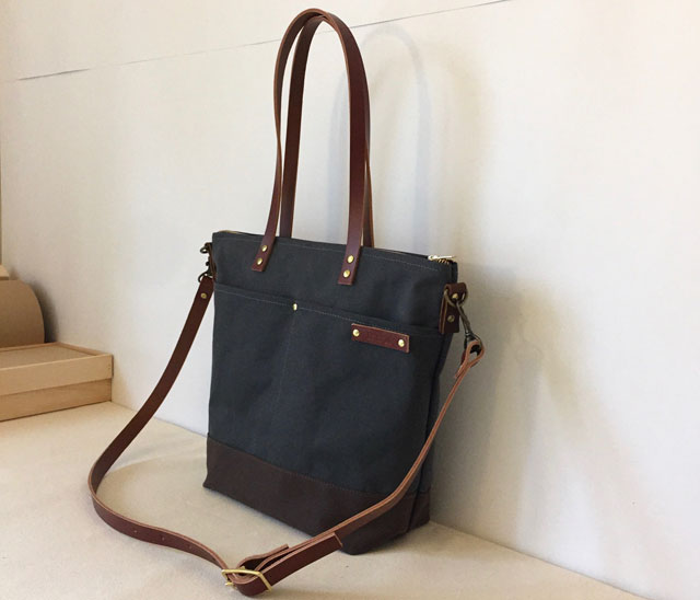 modern-coup-waxed-canvas-leather-bags-custom-commuter-bag-long-tote-straps-charcoal-grey-main