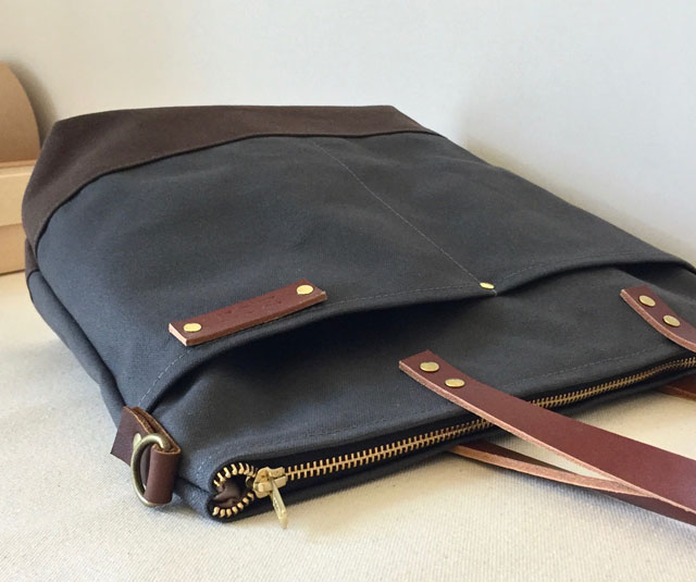 modern-coup-waxed-canvas-leather-bags-custom-commuter-bag-long-tote-straps-charcoal-grey-pockets