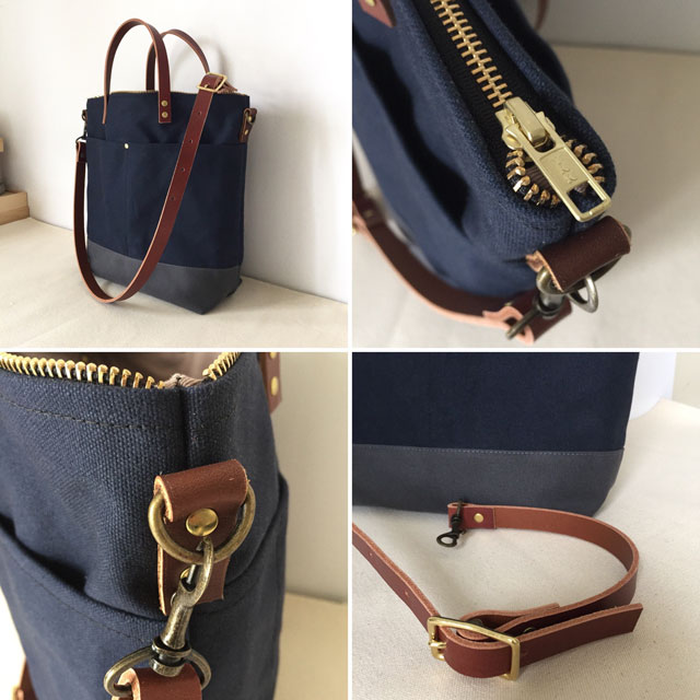 modern-coup-waxed-canvas-leather-bags-custom-cummuter-bag-blue-grey-clare-details