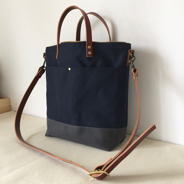 modern-coup-waxed-canvas-leather-bags-custom-cummuter-bag-blue-grey-clare-front