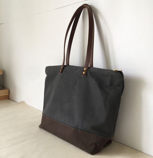 modern-coup-waxed-canvas-leather-bags-medium-zipper-tote-custom-shoulder-strap-miranda-before