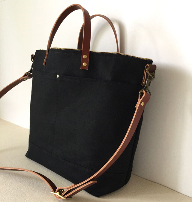modern-coup-waxed-canvas-leather-bags-utility-tote-custom-black-brown-straps-side