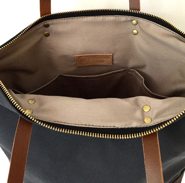 modern-coup-waxed-canvas-leather-custom-commuter-bag-inside-lining-pockets